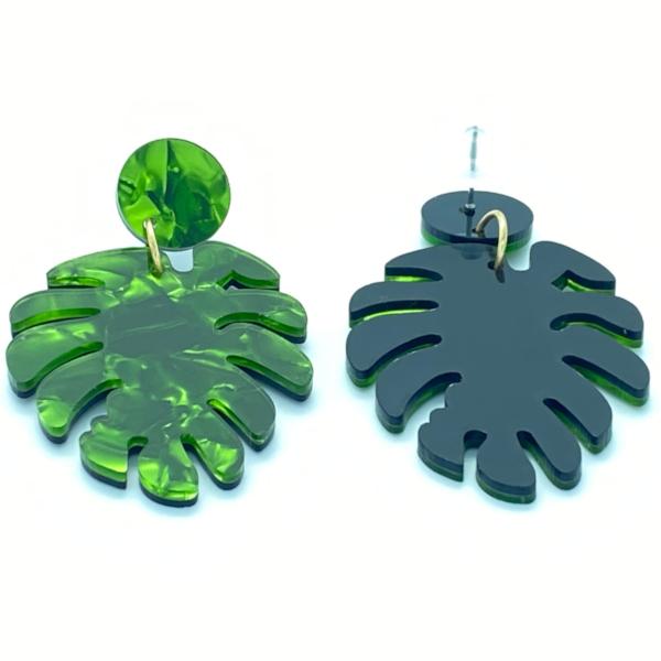 Oereringe med palmeblade i groende nuancer set forfra og bagfra